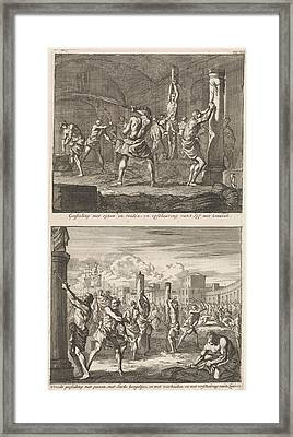 Christians Are Flogged In A Cell And Christians Are Flogged Framed Print