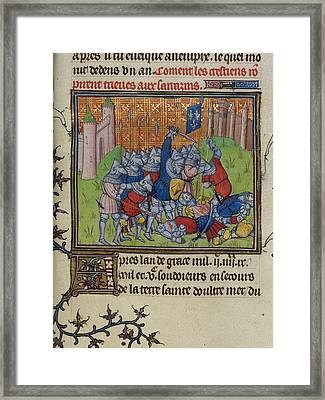 Christians Of Acre Attack The Saracens Framed Print by British Library