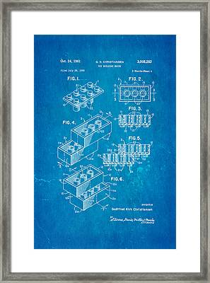 Christiansen Lego Toy Building Block Patent Art 2 1961 Blueprint Framed Print