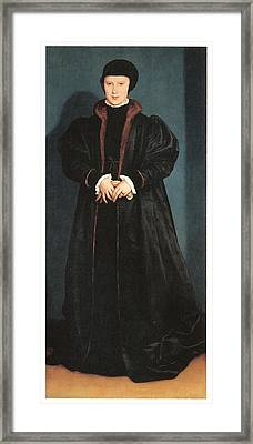 Christina Of Denmark Duchess Of Milan Framed Print by Hans Holbein the Younger