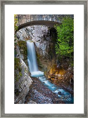 Christine Falls And Bridge Framed Print