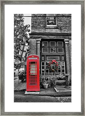 Christmas - The Red Telephone Box And Christmas Wreath II Framed Print by Lee Dos Santos
