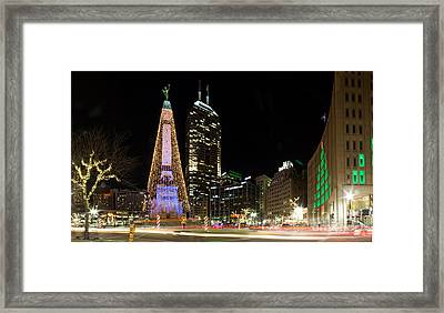 Christmas At Monument Circle Framed Print
