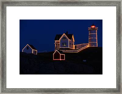 Christmas At Nubble Framed Print by Andrea Galiffi