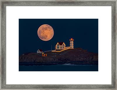 Christmas At Nubble Framed Print