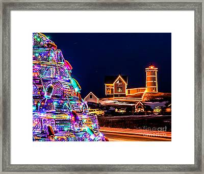 Christmas At Nubble Light Framed Print by Scott Moore