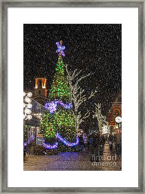 Christmas At Quincy Market Boston Framed Print