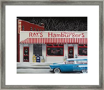 Christmas At Ray's Diner Framed Print by Catherine Holman