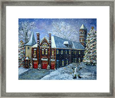 Framed Print featuring the painting Christmas At The Fire House by Rita Brown