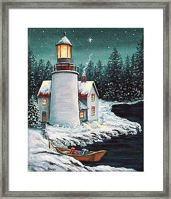 Christmas At The Light Framed Print