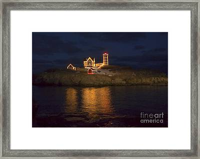 Christmas At The Nubble Framed Print