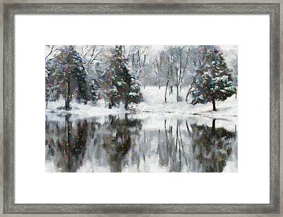 Christmas At The Pond Framed Print