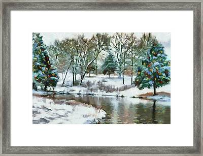 Christmas At The Pond Too Framed Print