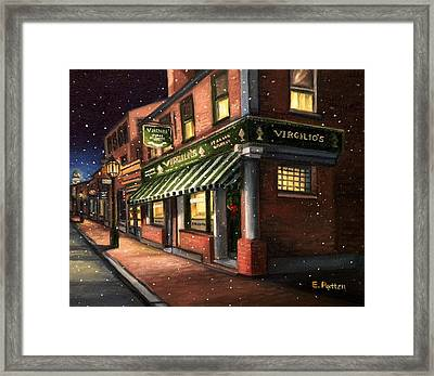 Christmas At Virgilios Framed Print by Eileen Patten Oliver