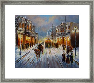 Christmas Atmosphere In A Small Town America In 1900 Framed Print