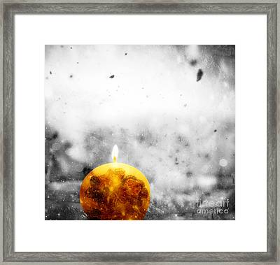 Christmas Ball Candle Lights On Winter Background Framed Print by Michal Bednarek