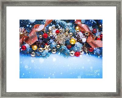 Christmas Balls On Tree Framed Print by Doc Braham