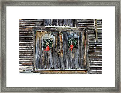 Christmas Barn Doors Framed Print