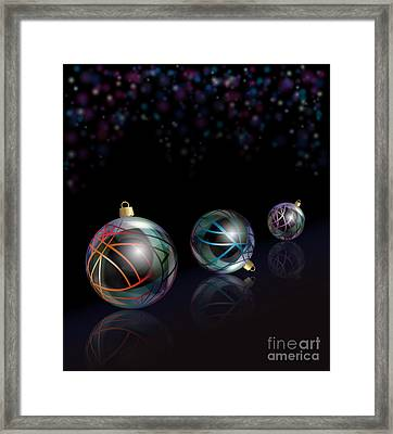 Christmas Baubles Reflected Framed Print by Jane Rix