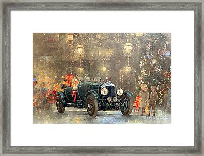 Christmas Bentley Framed Print by Peter Miller