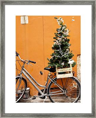 Christmas Bicycle Framed Print by Rae Tucker