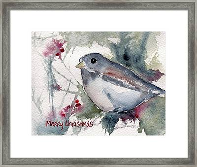 Framed Print featuring the painting Christmas Birds 01 by Anne Duke