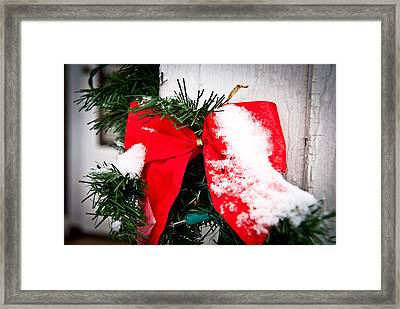 Christmas Bow  Framed Print by Nickaleen Neff