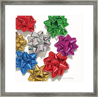 Christmas Bows And Shadows Framed Print