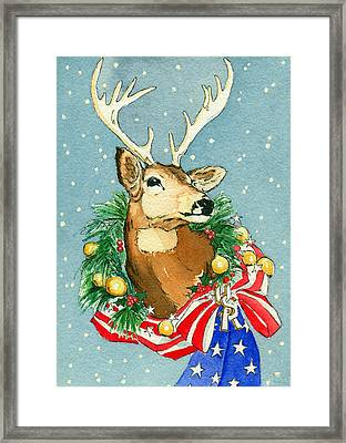 Christmas Buck Framed Print by Katherine Miller