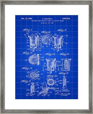 Christmas Bulb Socket Patent 1936 - Blue Framed Print
