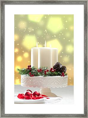 Christmas Candle Decoration Framed Print by Amanda Elwell