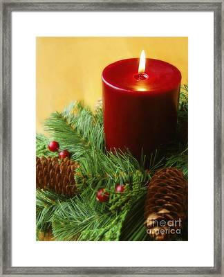Christmas Candle Framed Print by Diane Diederich