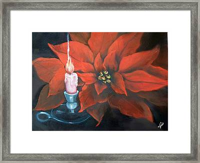 Christmas Candle For Baby Jesus Framed Print by Joni McPherson