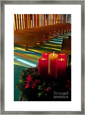 Christmas Candles At Church Art Prints Framed Print by Valerie Garner