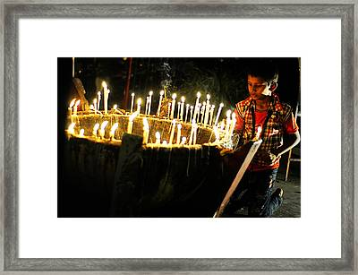 Christmas Candles Framed Print by Money Sharma