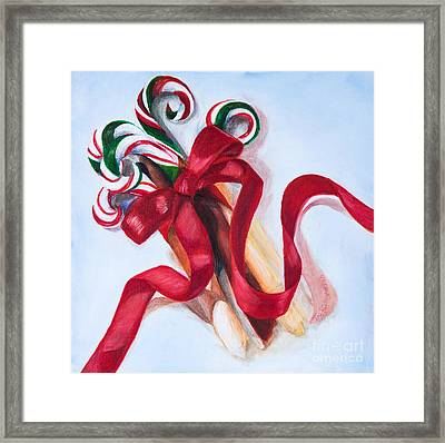 Christmas Candycanes Framed Print by Iris Richardson