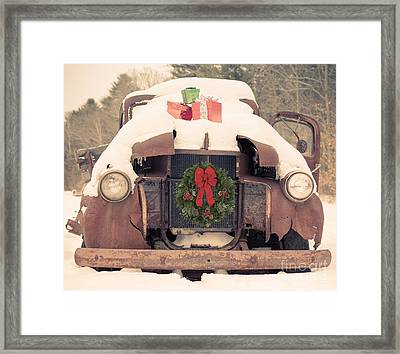 Christmas Car Card Framed Print by Edward Fielding