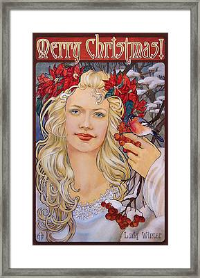 Christmas Card Art Nouveau Style Framed Print by Irina Effa