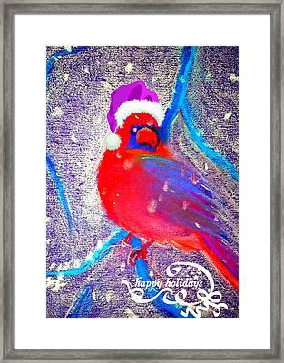 Christmas Card Cardinal In Snow Framed Print by Sue Jacobi