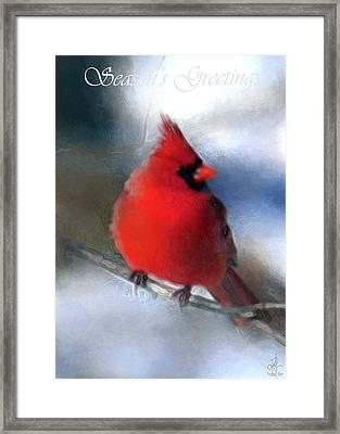 Christmas Card - Cardinal Framed Print