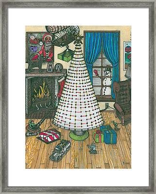Christmas Card Drawing Framed Print by Richie Montgomery
