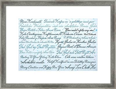 Christmas Card Multi Language  Framed Print by Gina Dsgn