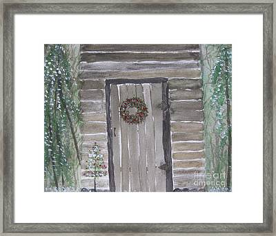 Christmas Card No.3 Rustic Cabin Framed Print