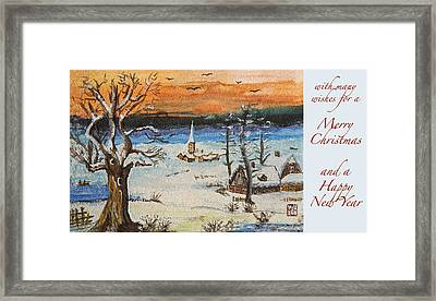Christmas Card Painting Framed Print