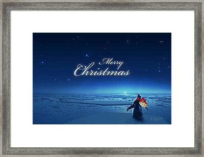 Christmas Card - Penguin Blue Framed Print by Cassiopeia Art