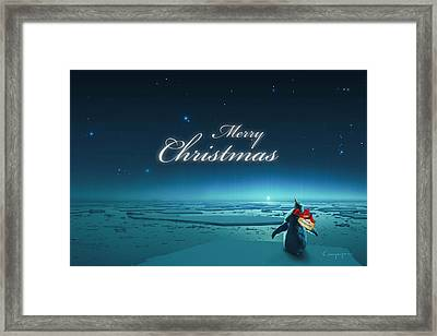 Christmas Card - Penguin Turquoise Framed Print by Cassiopeia Art