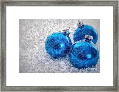 Christmas Card With Vintage Blue Ornaments Framed Print by Edward Fielding