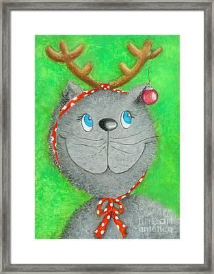 Christmas Cat Framed Print by Sonja Mengkowski