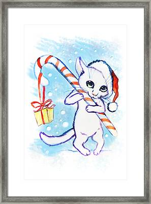 Christmas Cat With A Sweet Watercolor Card Framed Print