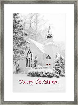 Historic Church Oella Maryland - Christmas Card Framed Print